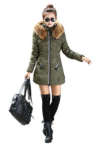 YMING donna Piumino giubbotto giaccone lungo cappuccio Verde M