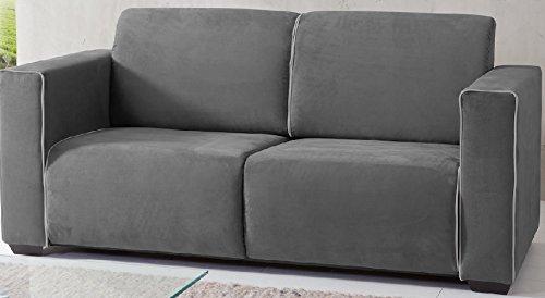 3-3-2-2402: schönes Schlafsofa mit Federkernpolsterung – Schlafcouch – Stoff Microfaser grau – Rücken echt – Sofa 2-Sitzer kaufen