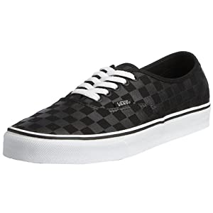 Vans VANS AUTHENTIC SKATE SHOES 9 (BLACK/BLACK (CHECKERBOARD))