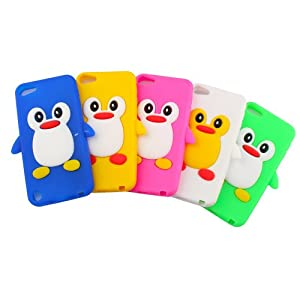 5 x Cute Lovely 3D Silicone Rubber Soft Penguin Cases Covers Skin for Apple iPod touch 5th Generation - Blue, Green, Yellow, White, Hot Pink