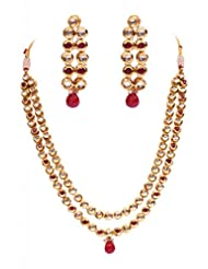 Rubera's Kundan Necklace Set With Ruby Drops - B00SR0SM14