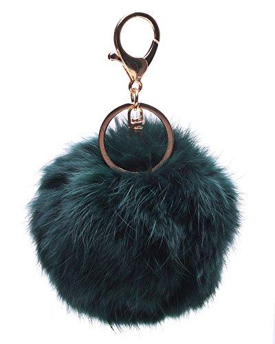 Leegoal(TM) Novelty Keychain with Plush Cute Artificial Rabbit Fur Key Chain for Car Key Ring Bag Purse Charm (Atrovirens)