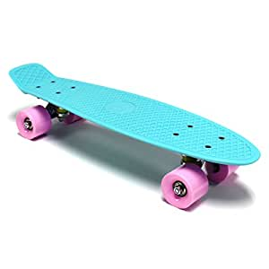 "Bentley 22"" Kids Retro Cruiser Mini Plastic Skateboards - Aqua With Pink Wheels (11 Colours Available)"