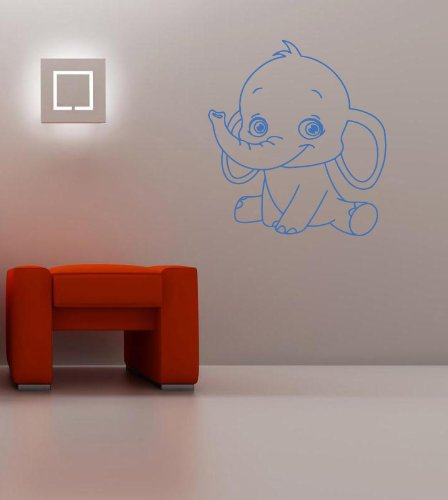 Housewares Wall Vinyl Decal Cartoon Animals Little Funny Baby Elephant Home Art Decor Kids Nursery Removable Stylish Sticker Mural Unique Design For Any Room front-153746