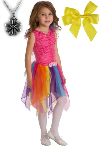 Pink Rainbow Fairy Princess Costume, Hair Bow and Wondercharms Necklace - Small (1-3)