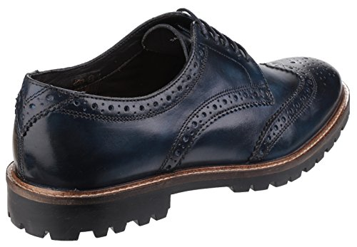 Base London Scarpa Uomo Stringata Traforata Pelle Fondo Gomma Blue_41