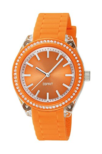 Esprit play A.ES900672007 - Reloj analógico de cuarzo para mujer, correa de silicona color naranja