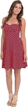 50's Retro Rockabilly Polkadot Dress Sundress, S, Burgundy