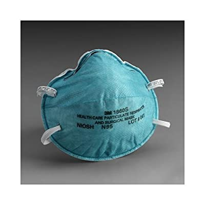 3M 1860S Particulate Respirator and Surgical Mask, Small,
