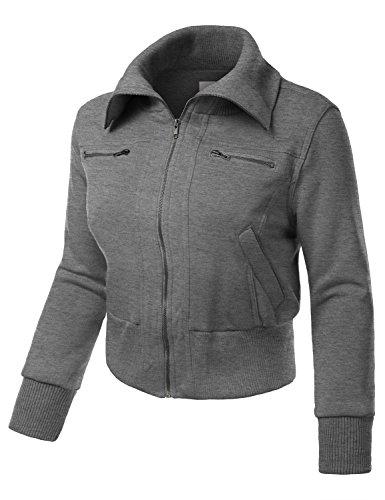 J.TOMSON PLUS Womens Fleece Zip-Up Bomber Jacket With ...