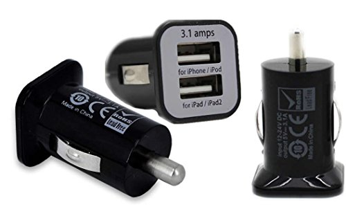 Rhaise micro USB 3100 MA schwarz 2 USB Anschlüsse Tablet / Handy Schnelllader Reiselader Auto stick Adapter KfZ Ladegerät High Speed Load Acer Iconia Tab A1-810 / A1-811 7.9