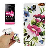 Rocina TPU Protective Case for Sony xperia U / St25i with Pink and Blue Flowers