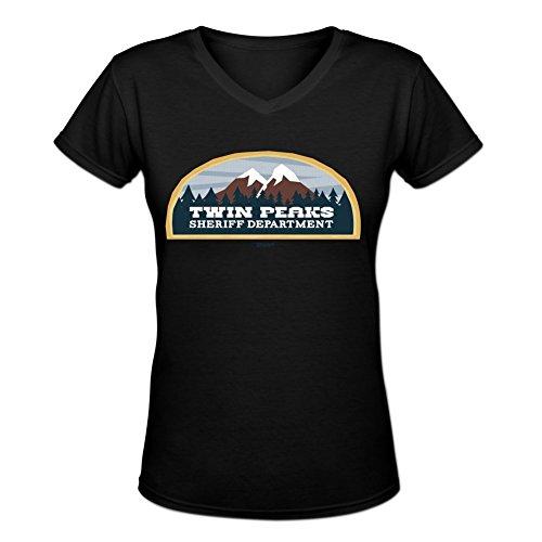 Blackwhitem Women's Twin Peaks Sheriff V-Neck Slim T-Shirt S Black (Twin Peaks T Shirt Womens compare prices)