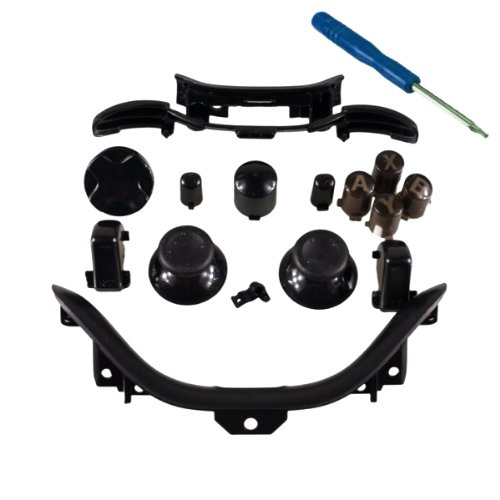 Xbox 360 Black Full Parts Set (Thumbsticks, D-Pad, Buttons, Triggers, Bumpers, Bottom Trim) For Your Controller (Abxy,Guide,Start, Back)