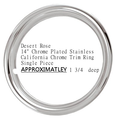 "14"" Chrome Plated Stainless Steel Beauty Steel Wheel Trim Ring 14 X 6 1 3/4 Deep - One Single Piece"