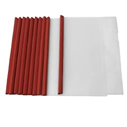 uxcell® 10 Pcs Plastic Clear Sliding Red Bar File Folder for A4 Paper Report