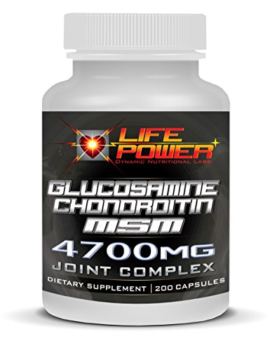 LifePower Labs-Glucosamine/Chrondrotin/MSM- Joint Pain & Rheumatoid Arthritis Complex Formula- 4700 MG. 200 Capsules of THREE Powerful Compounds To Maximize Joint Health & Aid In Long Term Joint Recovery. (Msm 900 compare prices)