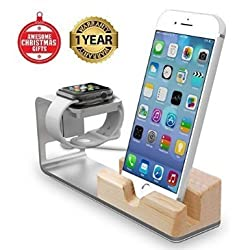 Apple Watch Stand, Jelly Comb [Charging Dock] Bamboo Wood Charge Station for Apple Watch & iPhone - Fits iPhone Models: 5 / 5S / 5C / 6 / 6 PLUS and both 42mm & 38mm sizes of 2015 Watch Models