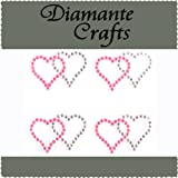 4 x Hot Pink & Clear Diamante Double Hearts Self Adhesive Craft Rhinestone Embellisment Gems - created exclusively for Diamante Crafts