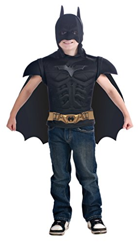 Boys Batman Muscle Shirt Cape Kids Child Fancy Dress Party Halloween Costume