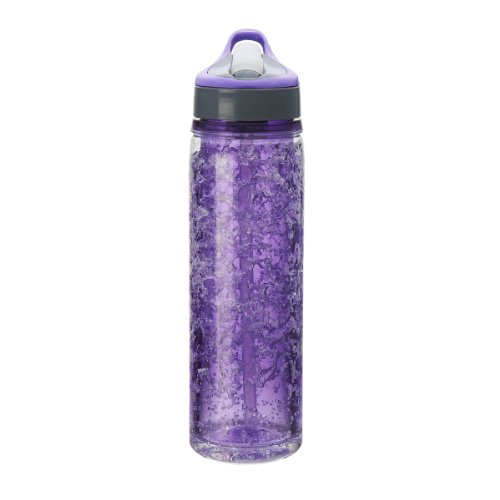 Design For Living Double Wall Tritan Water Bottle With Crackle Gel, 18-Ounce, Purple front-302931