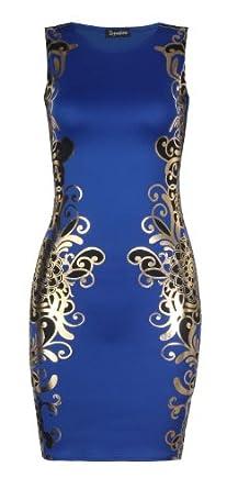 Fast Fashion - Robe Sans Manches Déjouer Moulante Imprimée d'or - Femme
