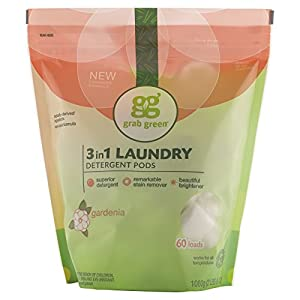 Grab Green Natural 3-In-1 Laundry Detergent Pods, Gardenia, 60 Loads