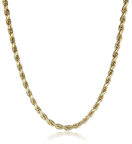 Mens-14k-Solid-Yellow-Gold-4mm-Wide-Diamond-Cut-Rope-Chain-Necklace