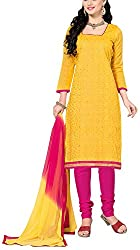Fabiola Trendz Women's Cotton Silk Unstitched Dress Material (Yellow )