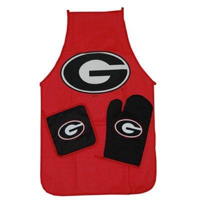 Georgia Bulldogs 3 Piece BBQ set: Apron & Mitts