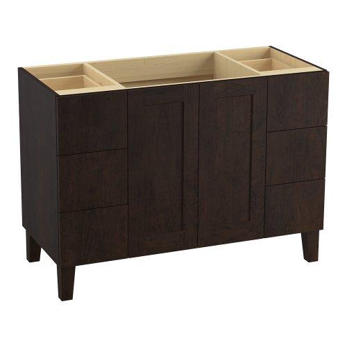 Kohler K-99535-Lg-1Wb Poplin 48-Inch Vanity With Furniture Legs, 2 Doors And 6 Drawers, Claret Suede