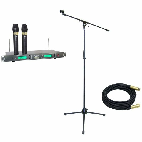 Pyle Mic And Stand Package - Pdwm2550 19'' Rack Mount Dual Vhf Wireless Rechargeable Handheld Microphone System - Pmks2 Tripod Microphone Stand W/Boom - Ppmcl30 30Ft. Symmetric Microphone Cable Xlr Female To Xlr Male