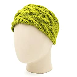 Magic Needles Handknitted Girls Double Cable Headband/Earwarmer - Olive Green