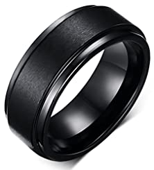 buy King Will 8Mm Black High Polish Tungsten Men'S Wedding Ring Comfort Fit Matte Finish Engagement Band(7.5)