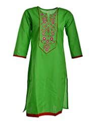 Global Women's Cotton Straight Kurta (GW55Green44015, Green, 44)