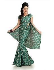 Designersareez Women Khadi Silk Printed Teal Green Saree With Unstitched Blouse(990)