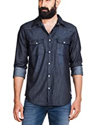 Zovi Men Cotton Regular Fit Black Denim Shirt With Scrap Effect  Full Sleeves