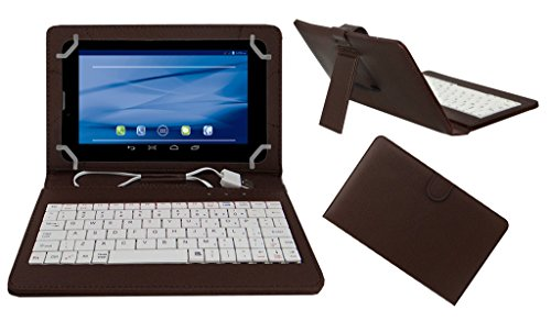 Acm Premium Usb Keyboard Tablet Case Holder Cover For Datawind Ubislate 7sc With Free Micro Usb Otg - Brown
