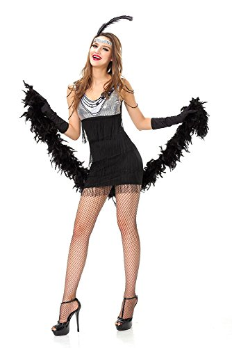 GALHAM - Sexy Black Silver Patchwork Dancing Fancy Showgirl Women Dress Costume