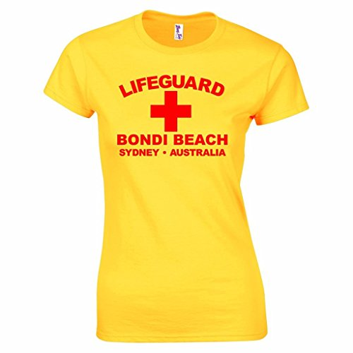 Bang Tidy Clothing Women's Lifeguard Bondi Beach Surfer T Shirt - Yellow or Red - Small to XXL