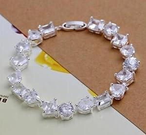 Women Girl 925 Jewelry solid silver Shiny bracelet