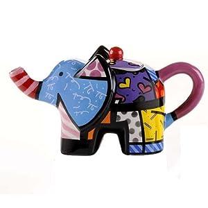 Romero britto elephant shaped mini teapot h9cm x w15cm x d7cm new boxed kitchen - Elephant shaped teapot ...