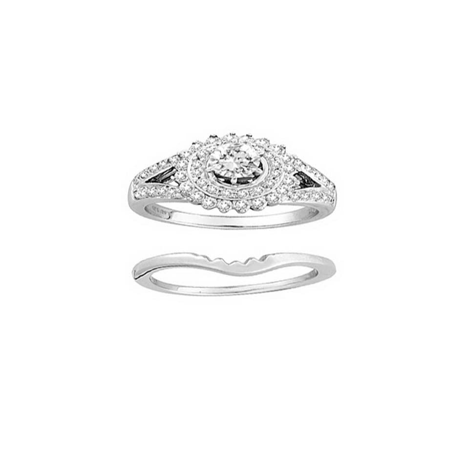 14K White Gold 0.95cttw All The Way Yours Prong Set Round Diamond Bridal Ring Set