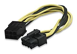 CNCT SMPS 6 PIN TO 8 PIN CONVERTER IN 0.20M - 8 pin male to 6 pin female - suitable for connecting PCI-X card from ATI and NVIDIA with 8 pin to Power Supply with 6 pin PCI-X power from brands like Cooler Master - Antec - Corsair - Thermaltek - NZXT