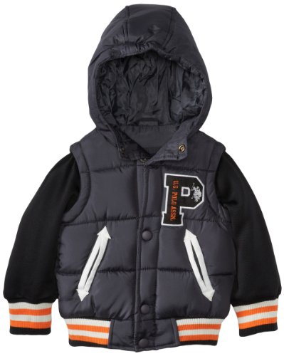 U.S. Polo Association Little Boys' Vest With Attached Fleece Hood And Sleeves, Charcoal, 3T