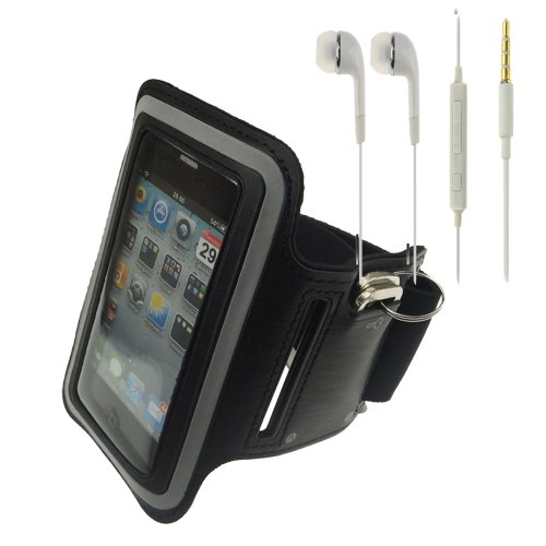 Black Workout Running Sports Gym Armband Case Cover For Iphone 4 / 4S / Ipod Touch4 + White Headphone With Mic