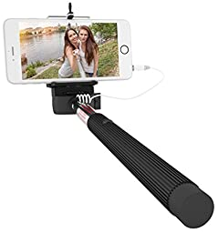 Mazichands Wired Selfie Stick for iPhone 6, 6 plus, 5 5s 5c, Galaxy s6 edge s5 s4, Android Smartphone - Extendable Cable Selfies/Selfy Best Sticks(Monopod) w/ Universal Cell Phone Mount - No Bluetooth & Battery Free