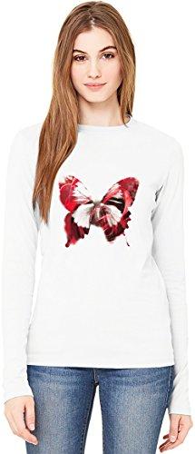 Flower Butterfly T-Shirt da Donna a Maniche Lunghe Long-Sleeve T-shirt For Women| 100% Premium Cotton| DTG Printing| XX-Large