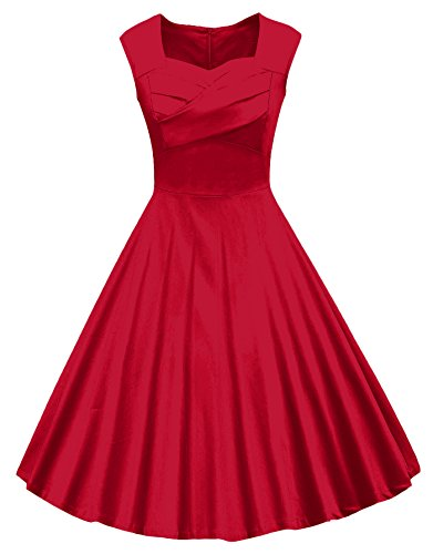VOGVOG Women's 1950s Retro Vintage Cap Sleeve Party Swing Dress, Red, Small