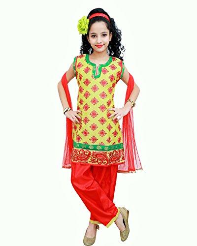 Aarika Girls' Patiala Salwar Suit (9053-Red_4-5 Years)